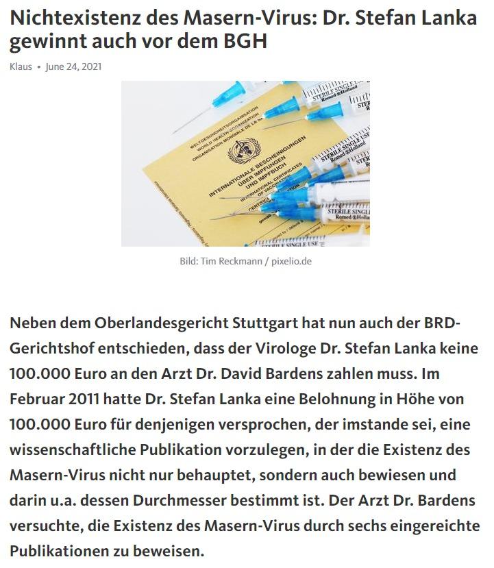 Nichtexistenz des Masern-Virus: Dr. Stefan Lanka gewinnt auch vor dem BGH