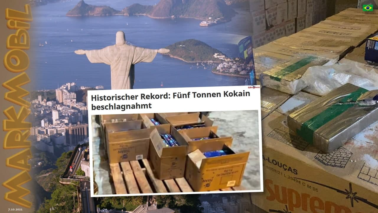 Rekordfund in Rio/Brasilien: FÜNF TONNEN KOKAIN!!!