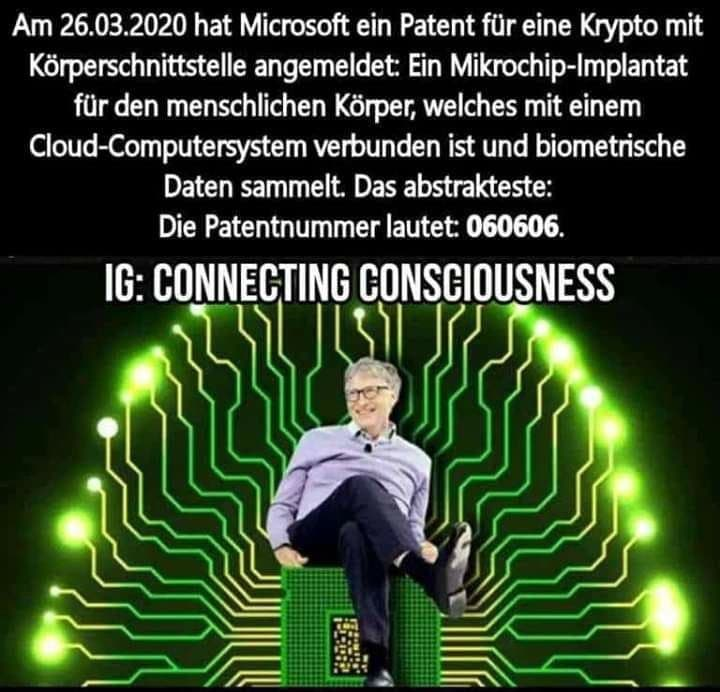 BIL GATES: Microchip-Patent-Nr. 060606 vom 26.03.2020