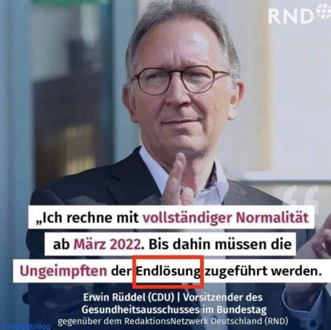 N-Wort-Speech: Erwin Rüddel (CDU), spricht von Endlösung für Ungeimpfte! Soso!