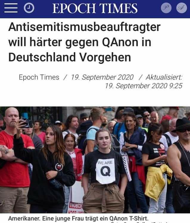 Epoch Times - Antisemitismusbeauftragter will härter gegen Qanon vorgehen?