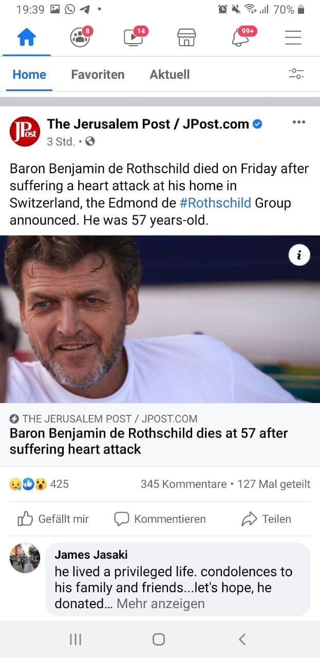 Baron Benjamin de Rothschild mit 57 gestorben