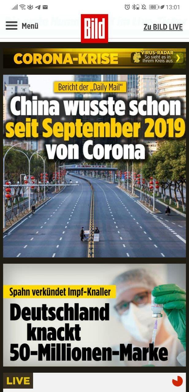 BILD: China wusste schon 2019 von Corona