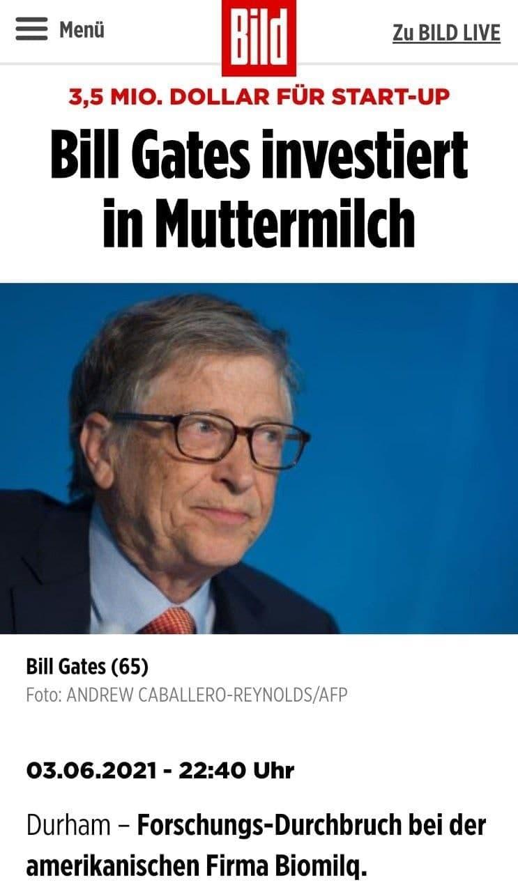 Bill Gates investiert in Muttermilch-StartUp!