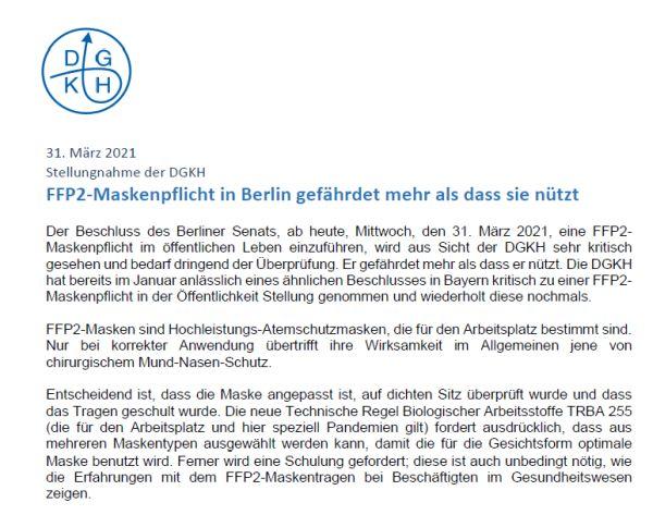 Maskenpflicht: Stellungnahme der DGKH (Download PDF)