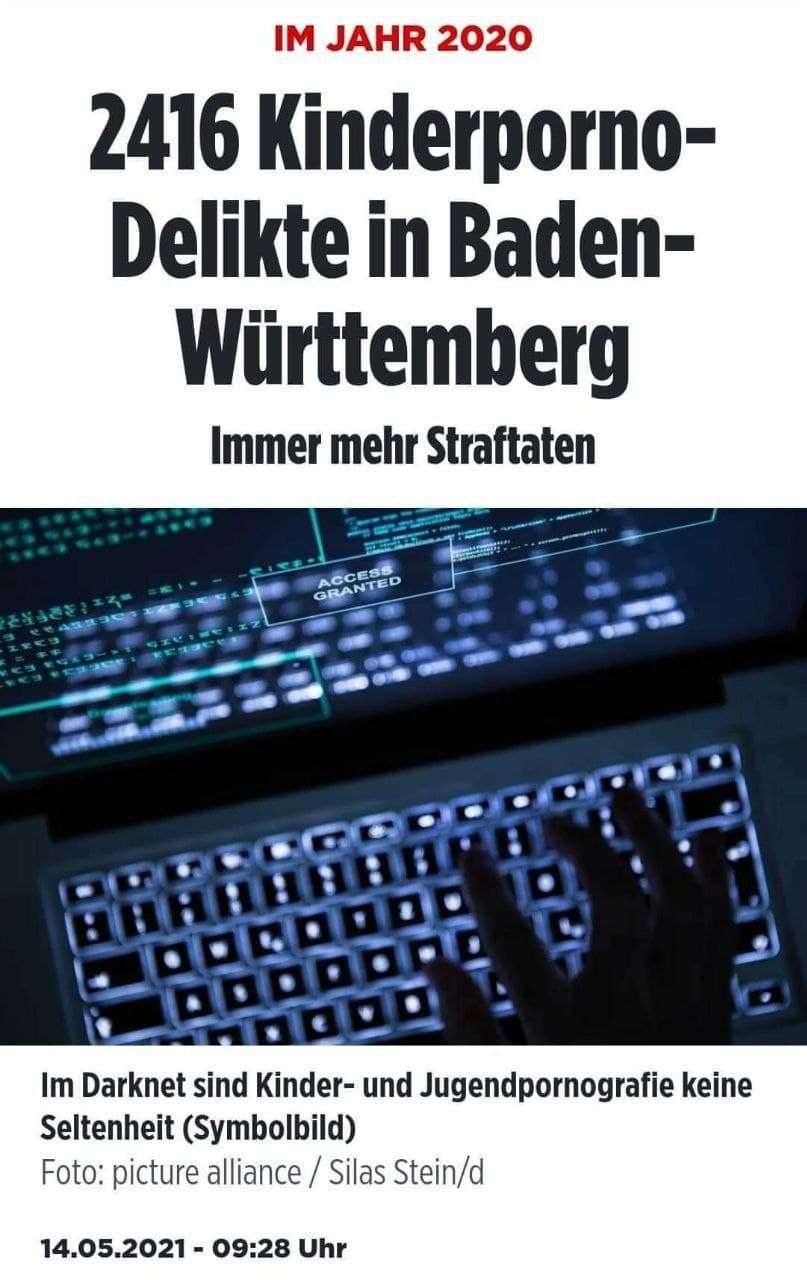 2416 Kinderporno-Delikte in Baden-Württemberg (2020)