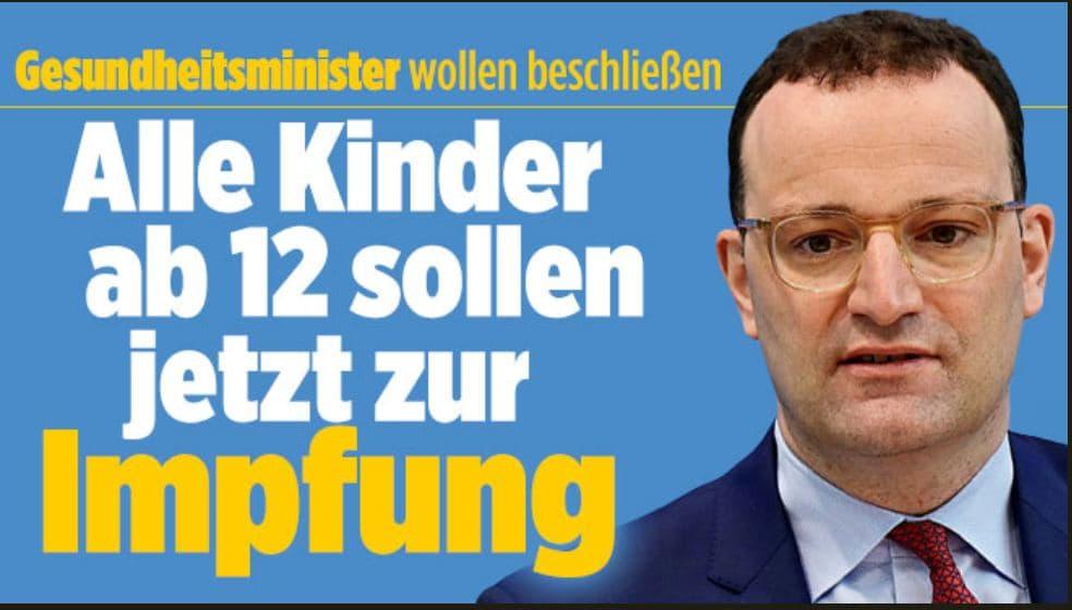 Gesundheitsminister Spahn: Alle Kinder ab 12 Jahren sollen jetzt zur Impfung?