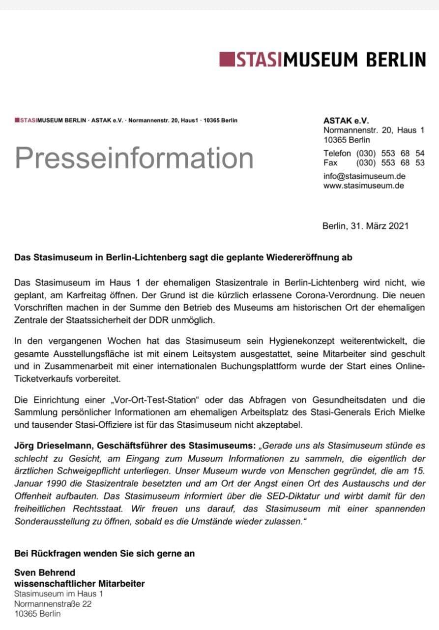 Stasimuseum macht - wegen Datenschutz und Sammeln von Gesundheitsdaten - nicht auf
