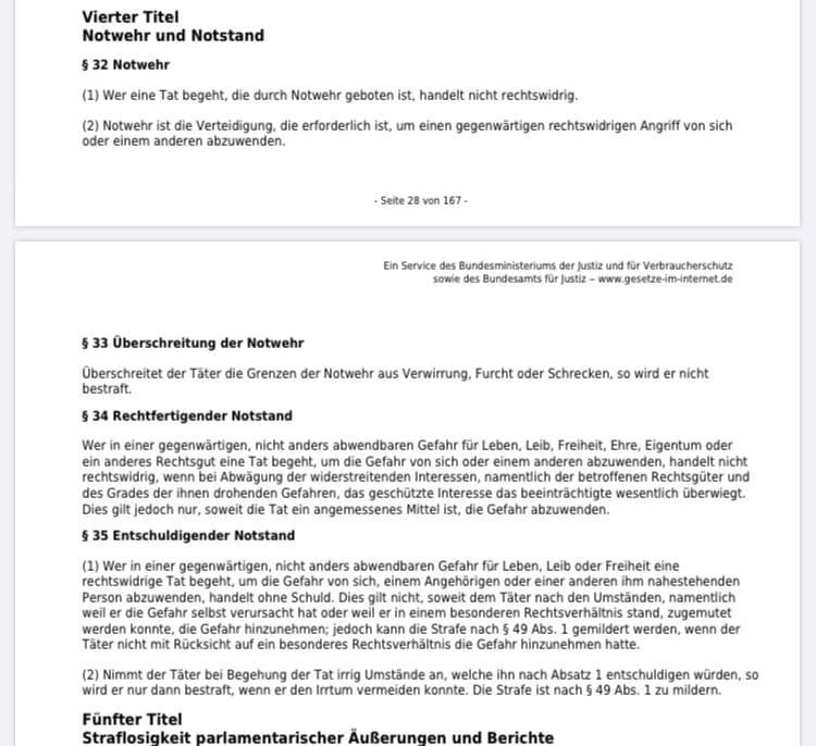 Rechtsfragen §227 zur NOTWEHR
