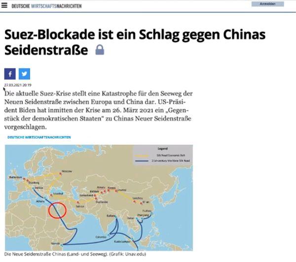 Suez-Blockade ist ein Schlag gegen Chinas Seidenstraße ( Evergreen - Ever Given )