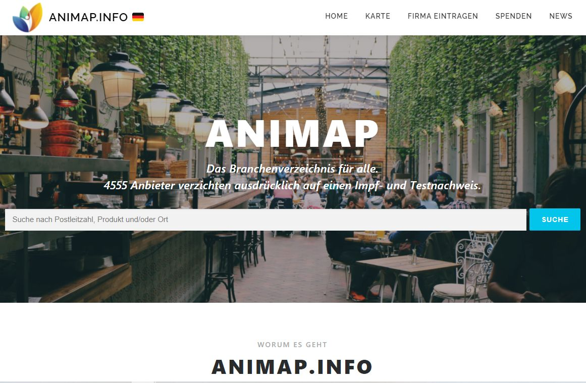 ANIMAP.INFO - Karte von Unternehmen OHNE Impftest, Impfpass etc.