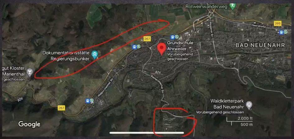 Ahrweiler - Bunker - Gebietskarte