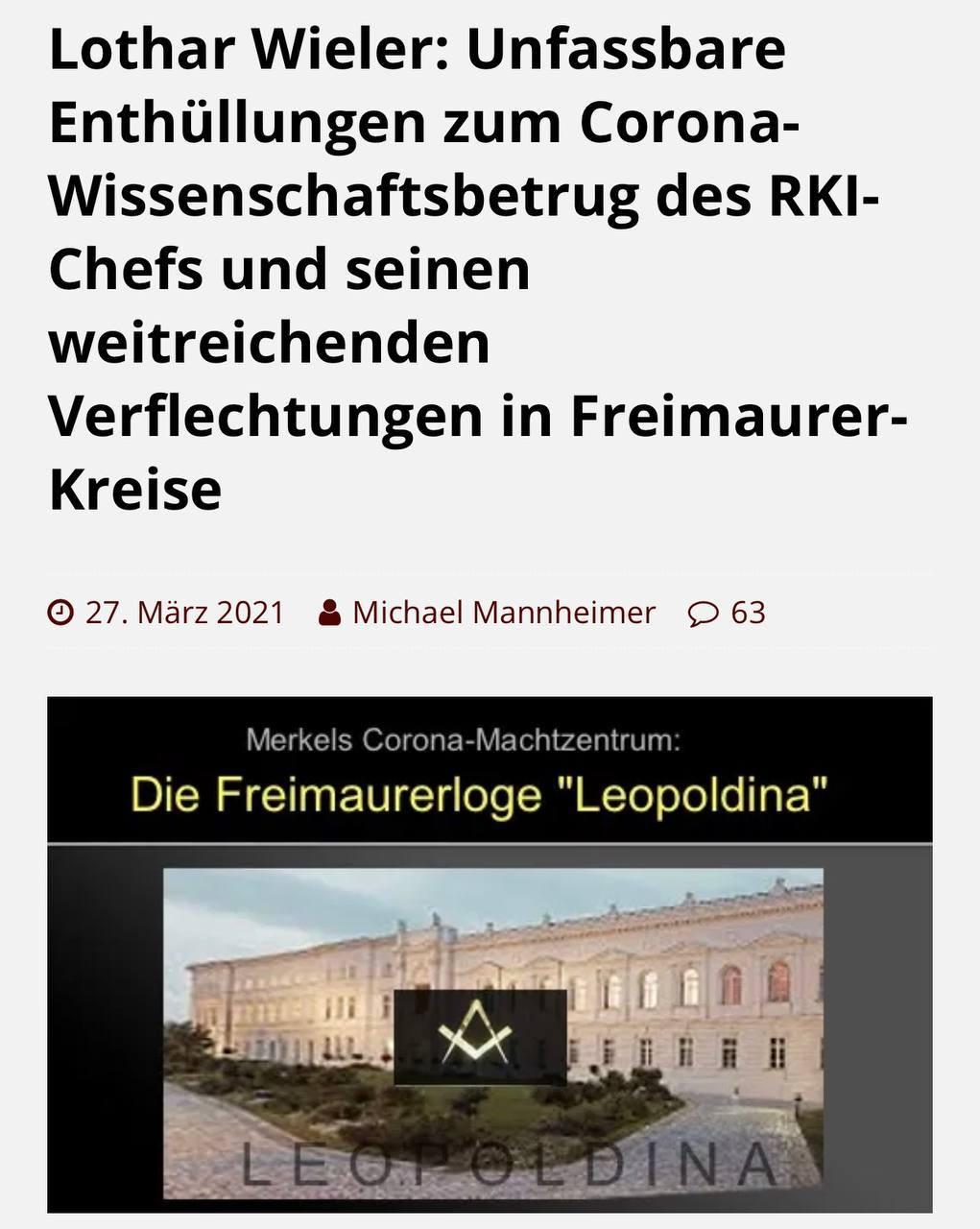 RKI-Chef Wieler und die Freimaurerloge Leopoldina