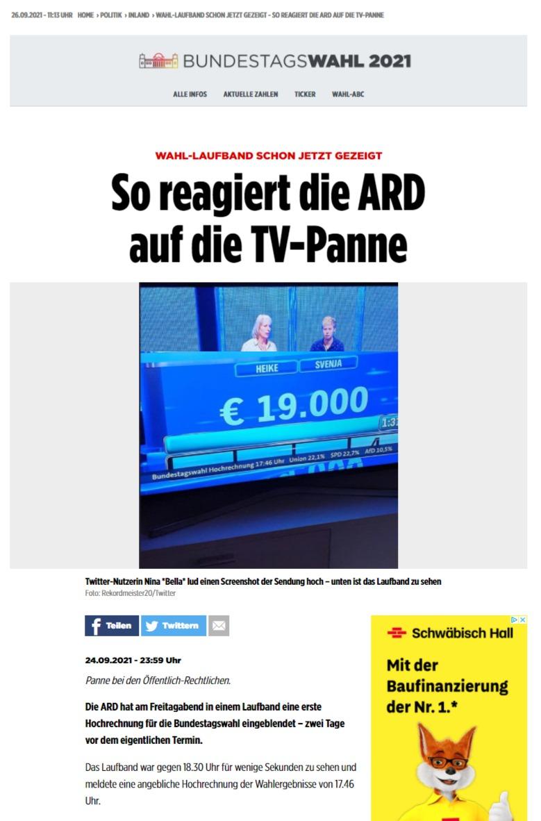 TV-Panne - ARD zeigt Wahl-Hochrechnung schon jetzt - Deutschland - Bild.de