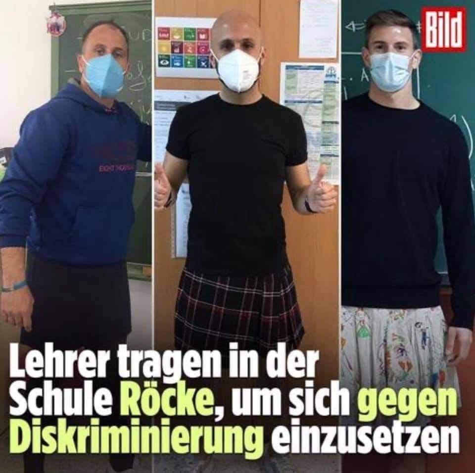 BILD: Lehrer tragen in der Schule Röcke, um sich gegen Diskriminierung einzusetzen? ;-)