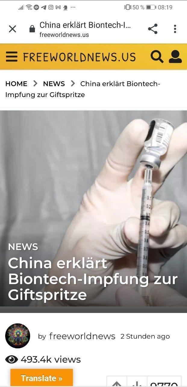 China erklärt BionTech-Impfung zur Giftspritze!