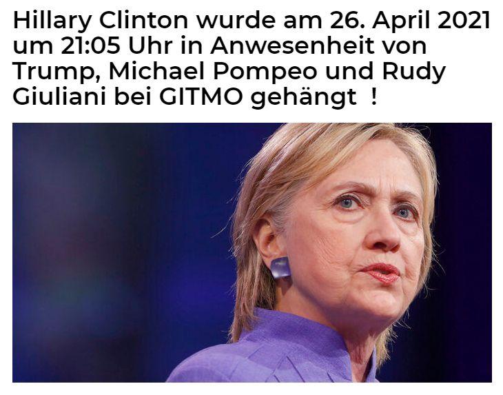 Hillary Clinton wurde am 26.04.2021 in Guantanamo gehängt