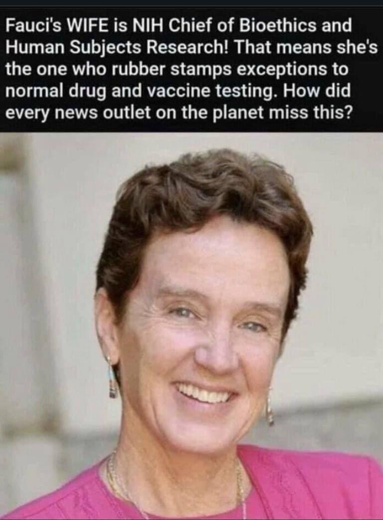 Dr. Anthony Faucis Frau ist die leitende Bioethikerin am U.S. Institute of Health