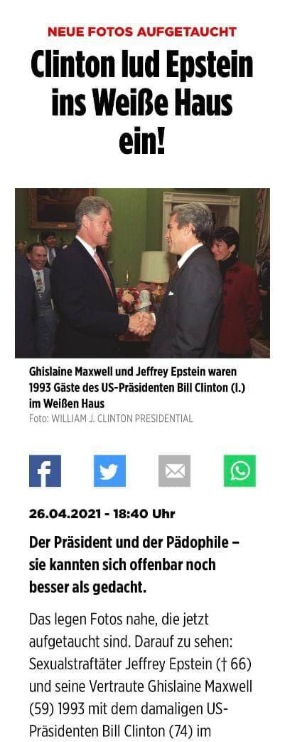 Neue Bilder aufgetaucht: Bill Clinton lud Epstein ins Weisse Haus ein