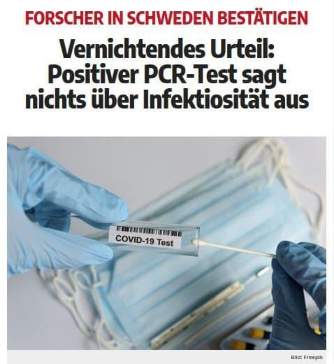 Vernichtendes Urteil in Schweden: Positiver PCR-Test sagt nichts über Infektiosität aus