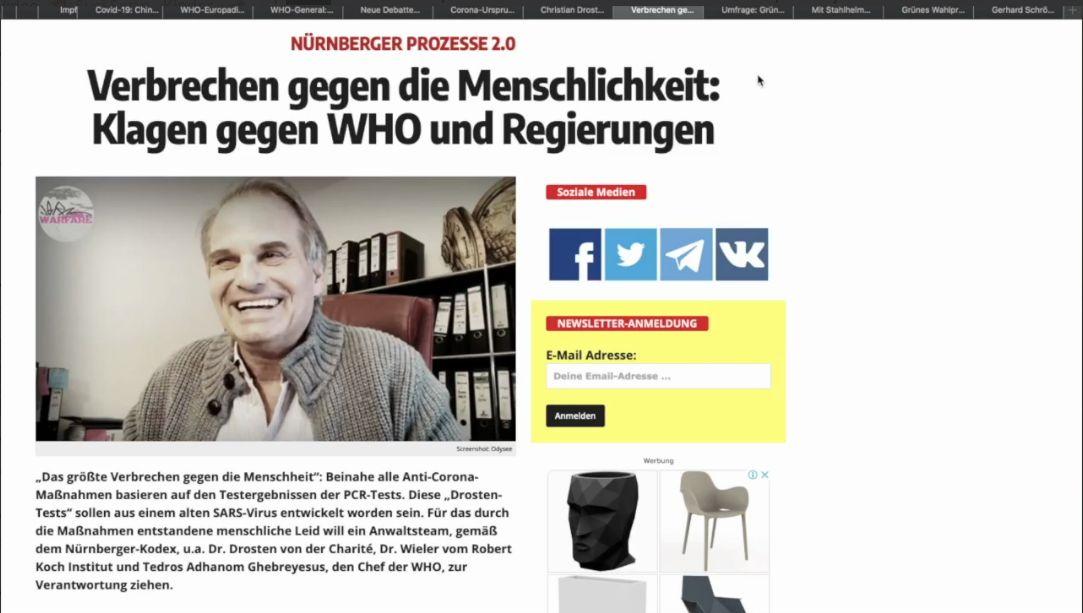 Verbrechen gegen die Menschlichkeit: Klagen gegen WHO und Regierungen
