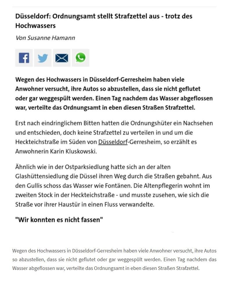 DÜSSELDORF: Ordnungsamt stellt Strafzettel aus - trotz des Hochwassers (19.7.21)