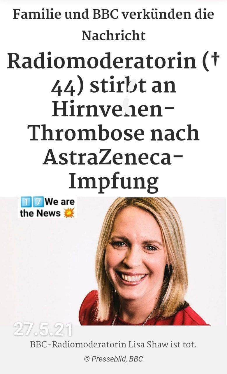 BBC Radiomoderatorin stirbt nach Hirnvenen-Thrombose nach Astra Zeneca Impfung
