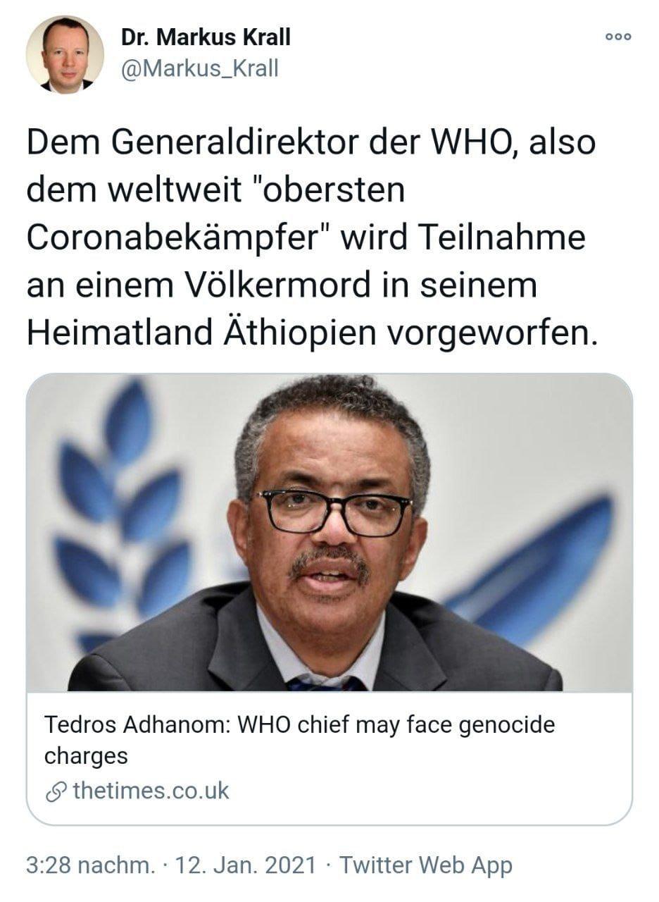Dr. Markus Krall: Generaldirektor der WHO Tedros Adhanom wird Teilnahme an Völkermord in Äthiopien vorgeworfen!